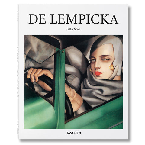 White book cover featuring oil painting of a woman in gray with camel gloves driving a green automobile. Title in capital black serif letters at top