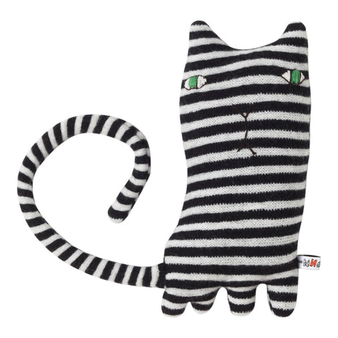 Mono Cat, black and white striped plush pal, with green embroidered eyes, a y-shaped nose and mouth embroidered in black thread, plump body with four short paws, small pointy ears, and a long wrap-around tail.