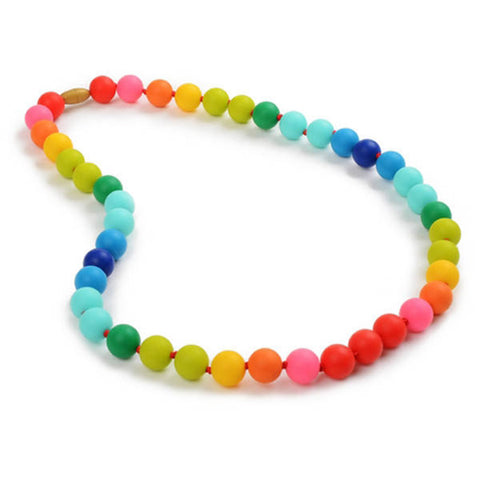 Chewbeads teething necklace is assembled from 43 multicolored silicon spheres.