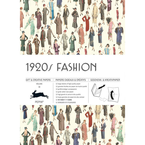 Gift wrap book cover with numerous fashion illustrations from the 1920s on a cream colored background and a title information in a horizontal band across the middle with art deco font