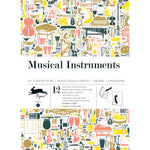 Wrapping paper book cover with densely packed illustrations of musical instruments in tan coral dark green and yellow. Title information in white horizontal band across the middle