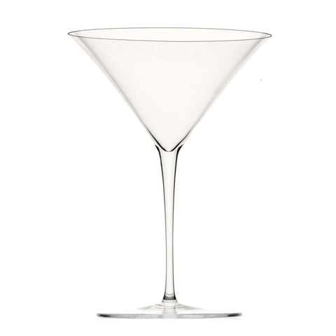 Clear lead-free crystal martini glass with wide opening, deep body and long stem with a round base.