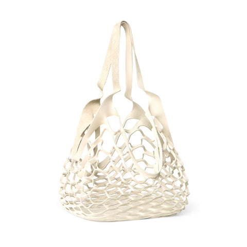 Large laser-cut porcelain-colored leather net tote bag