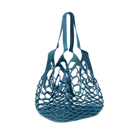 Large laser-cut blue leather net tote bag