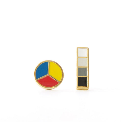 Round color wheel and rectangle-shaped Grayscale earrings