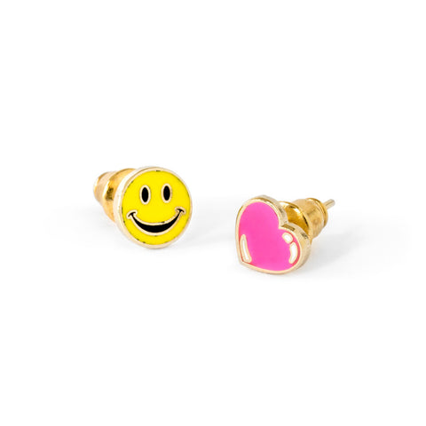 A pair of  yellow happy face and pink heart-shape earrings.