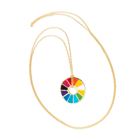 Color Wheel Pendant on a long gold chain.