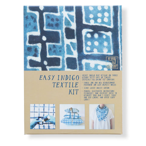 Packaging for Easy Indigo Textile Kit in a box. The box features 3 photos of different projects. Text is included on the box indicating materials included in the kit.