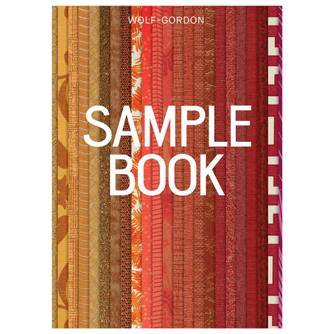 Book cover with layered strips of wallpaper in a gradient from yellow to red in a variety of patterns