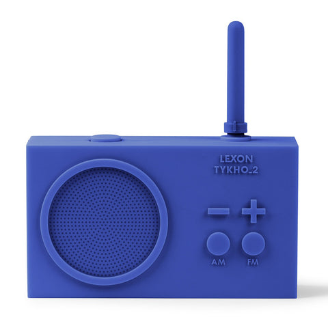 Cobalt blue AM/FM radio facing forward against a white backdrop.