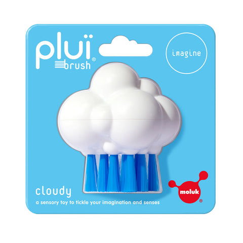 Cloud shaped brush with blue nylon bristles attached to the bottom, and meant to look like rain