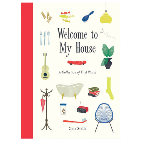 White book cover with red spine and hand illustrated title surrounded by colorfully illustrated home objects