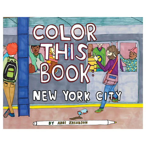 Brightly illustrated book cover with handwritten title above several commuters inside and outside a new york subway car