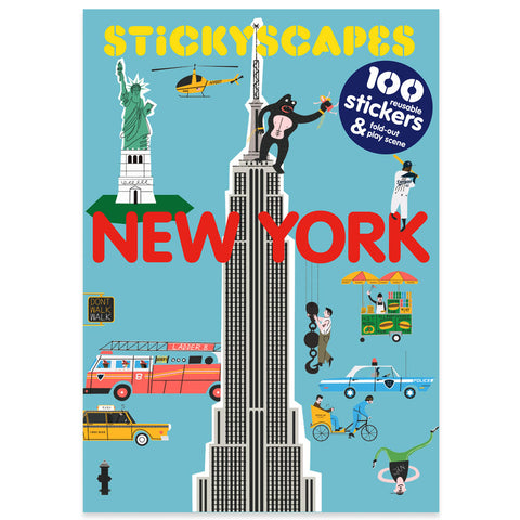 Light blue book cover with charming illustrations of new york city buildings people and vehicles