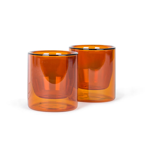 Amber Glass Double-Wall Tumbler Set