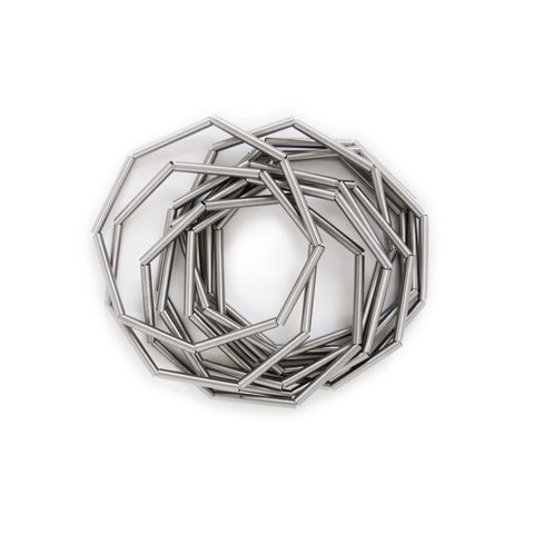 Ten stainless steel bracelets, shape as octagonal each bracelet is assembled from eight spring tubes.