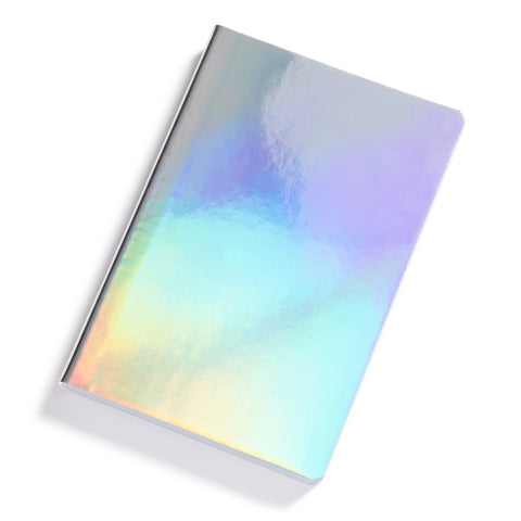 Notebook's cover had a glossy iridescent surface.