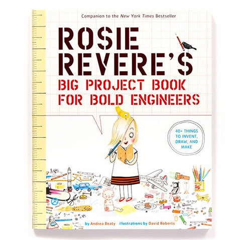 Book cover with ruler and graph paper pattern featuring a young light skinned blond kid wearing a red, black, and white dress holding a blue pencil and looking at a yellow notebook. Kid is surrounded by toys and tools
