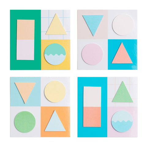 Four packs of sticky notes, each has 3-4 brightly colored item in different shapes: circle, triangular, and rectangular.