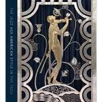 Book cover showing gold and silver metalwork of a classical figure with art deco ornamentation. Title vertically rotated in sans serf font in navy blue field to the left