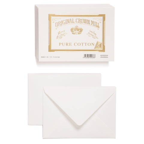 An image of the front and back of a white envelope. Above is an image of a stack of white envelopes. On the top of stack is the Original Crown Mill branded gold seal which features a crown and an Old English font.