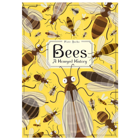 Book cover with playfully illustrated bees of different shapes and sizes on a yellow background