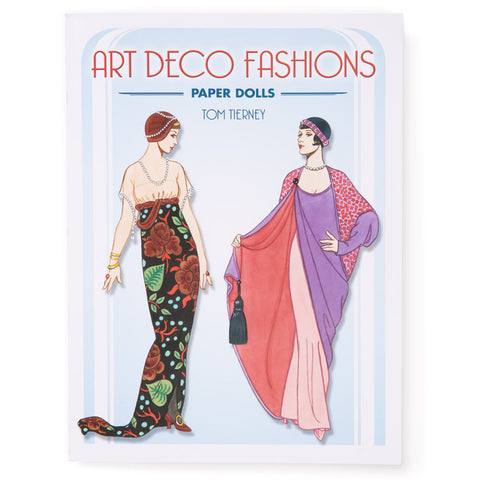 Book cover with two paper dolls in colorful art deco costumes below red and blue title in art deco fonts