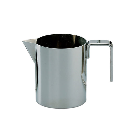 Side view of mirror-polished creamer with beak shaped pourer and u-shaped handle on white background.