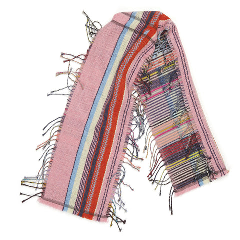 Tremain Wool and Cashmere Tippet in bold pink, blue, red, cream and black stripes with multi-color wool fringe