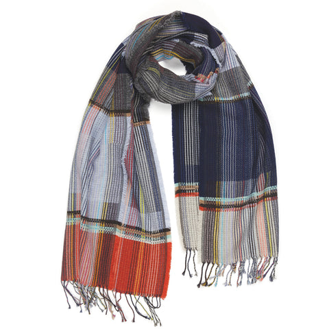 Anderson Lambswool Wrap in  blue and gray signature pinstripe weave pattern with red and yellow accents displayed on a white background as though casually worn about the neck.