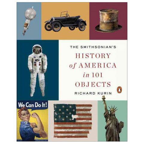 Book cover with rectangles in muted colors each featuring an important item from American history. Title in center right in black and red letters