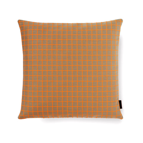 Square pillow with bright organge embroidery detail in grid pattern