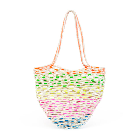 Cotton cord net bag with neon thread detailing throughout.