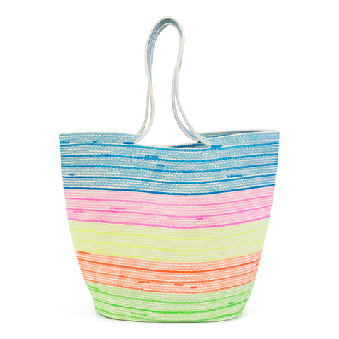 100% Cotton cord large bag with wide neon stripe detail
