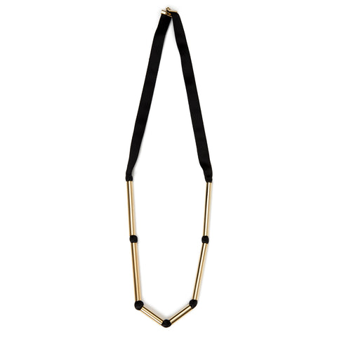 Sautoir Necklace Gold and Black
