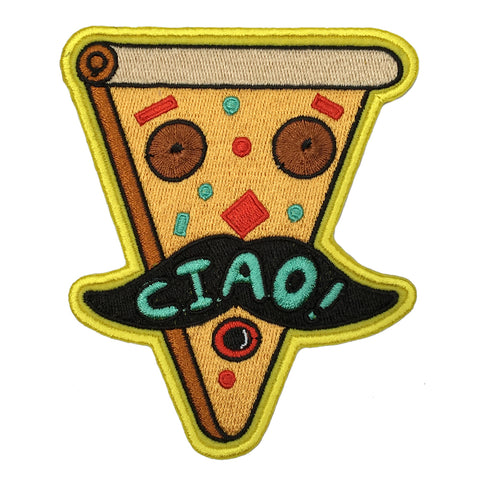 "An embroidered patch of an upside down slice of pizza with a cartoon face, the  features made up pizza toppings. The face is accented with a comical black moustache with the word ""Ciao!"" sewn across in green."