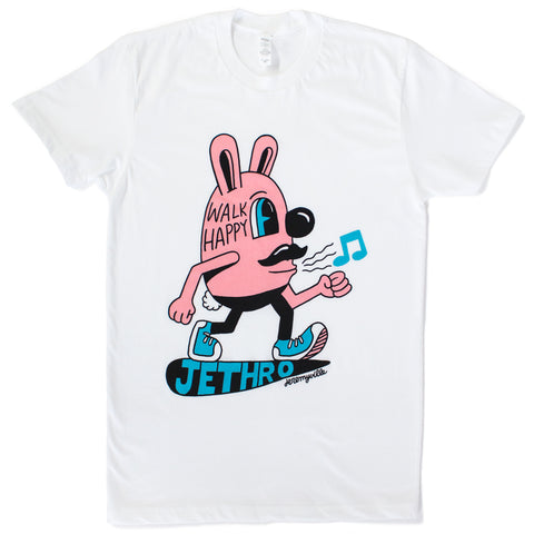 "A side view of a pink Jethro Bunny walking with a musical note coming from his mouth. ""Walk Happy"" is printed on his head. Under his feet ""Jethro"" is sewn in blue."