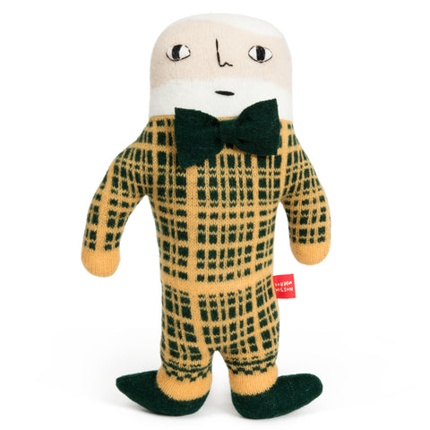 Knit Plush Toy with white hair and beard, a green and yellow checked suit, black shoes and applied bow tie, hand embroidered facial features and attached brand tag.