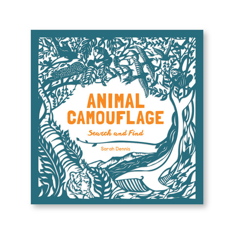 White book cover with a blue paper cut overlay of animals in their different habitats. Title in orange text in the center