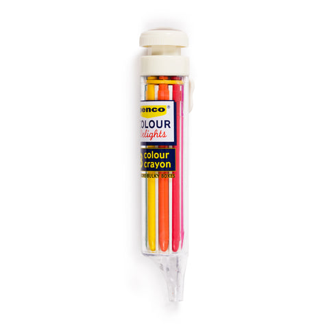 Against a white background, a Penco 8-Color Crayon with clear case and brand logo sticker. The red, orange and yellow crayons are visible.