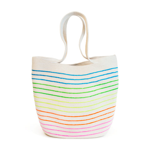 Natural 100% cotton cord bag with neon thin stripe detail.