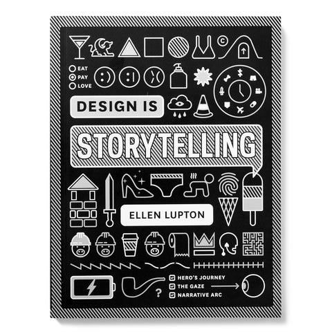 Book cover with white black and gray computer icon-like illustrations of the books design themes inside a cross hatched black and white border all surrounding the title in cross hatched comic-like speech bubble