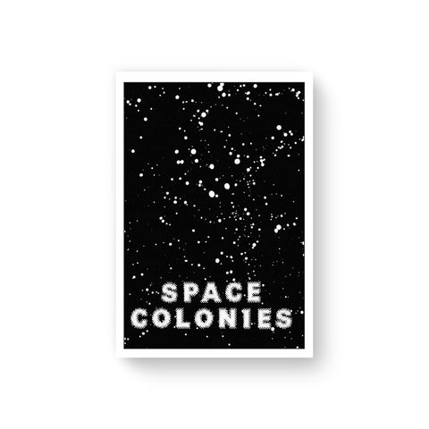 "Book cover with white border surrounding a field of white stars in black space, words ""Space Colonies"" printed in low resolution sans serif white letters"