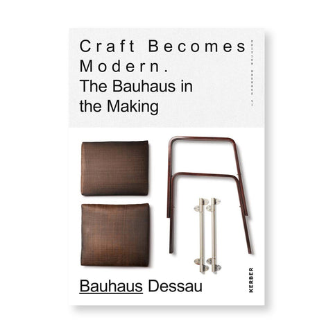 White book cover with title in light gray field at top in a black sans serif font with extra space between letters. Brown chair components laid out at the bottom