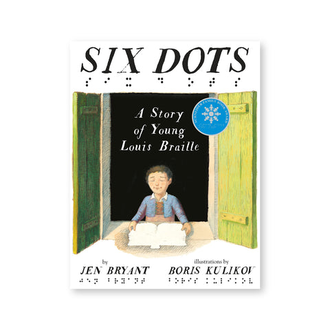 White book cover with illustration of a young short haired figure with their eyes closed holding a book on the sill of a deep set window. Title and author information above and below in illustrated black italicized serif letters with corresponding black braille dots