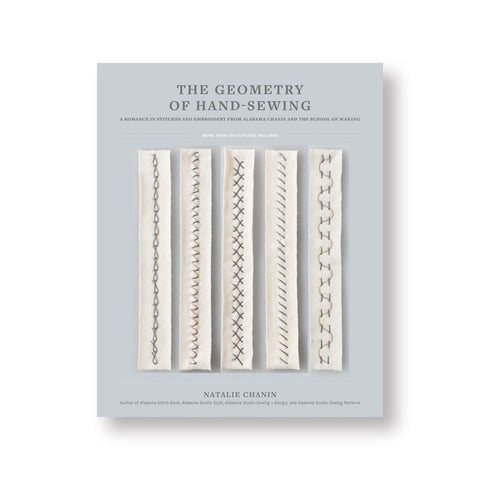 Light gray book cover showing five strips of cream fabric vertically lined each demonstrating a different  stitch in muted thread colors