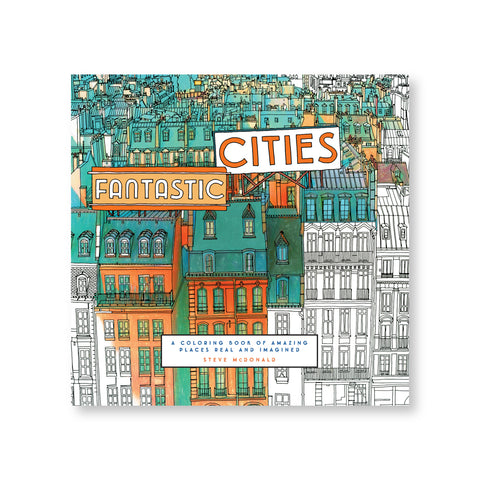 Book cover featuring detailed illustration of packed residential buildings receding into horizon some are colored in greens and oranges and some are left black and white