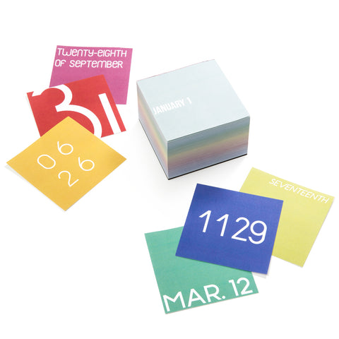 Set of small square colorful calendars, with numbers and months in white text on them.