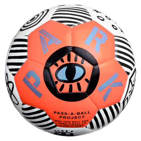 Passaball assembled from white and orange hexagons with hand-drawn graphics, features an eye at the center.