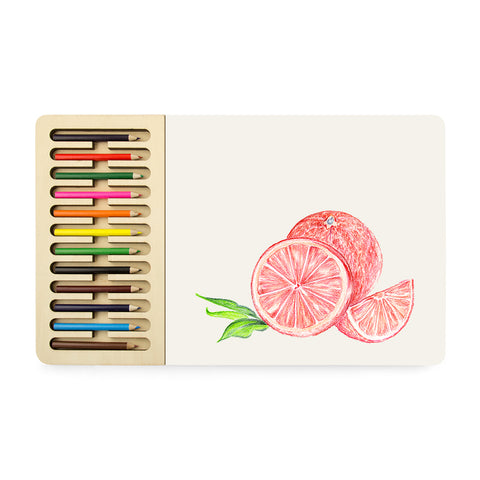 Sketchbook set with a Grapefruit drawing and a tray of colorful colored pencils